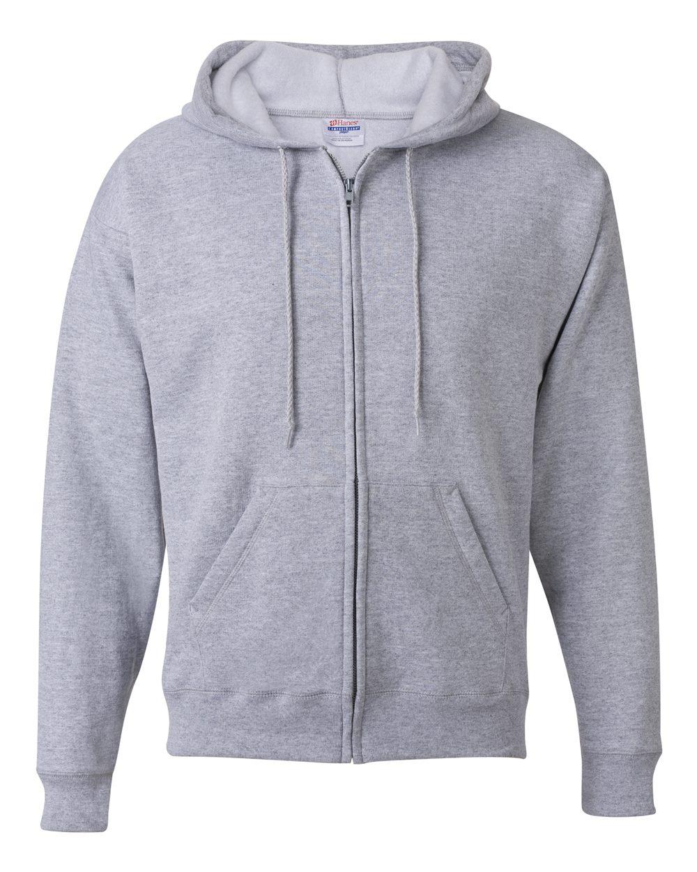 Hanes-Mens-Ecosmart-Blend-Full-Zip-Hooded-Sweatshirt-P180-up-to-3XL miniature 9