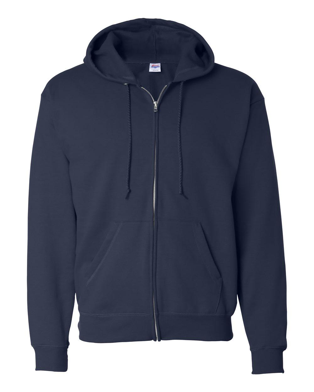 Hanes-Mens-Ecosmart-Blend-Full-Zip-Hooded-Sweatshirt-P180-up-to-3XL miniature 12