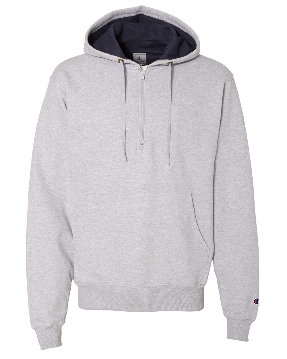 Champion-Mens-Cotton-Max-Hooded-Quarter-Zip-Sweatshirt-Pullover-S185-up-to-3XL miniature 12