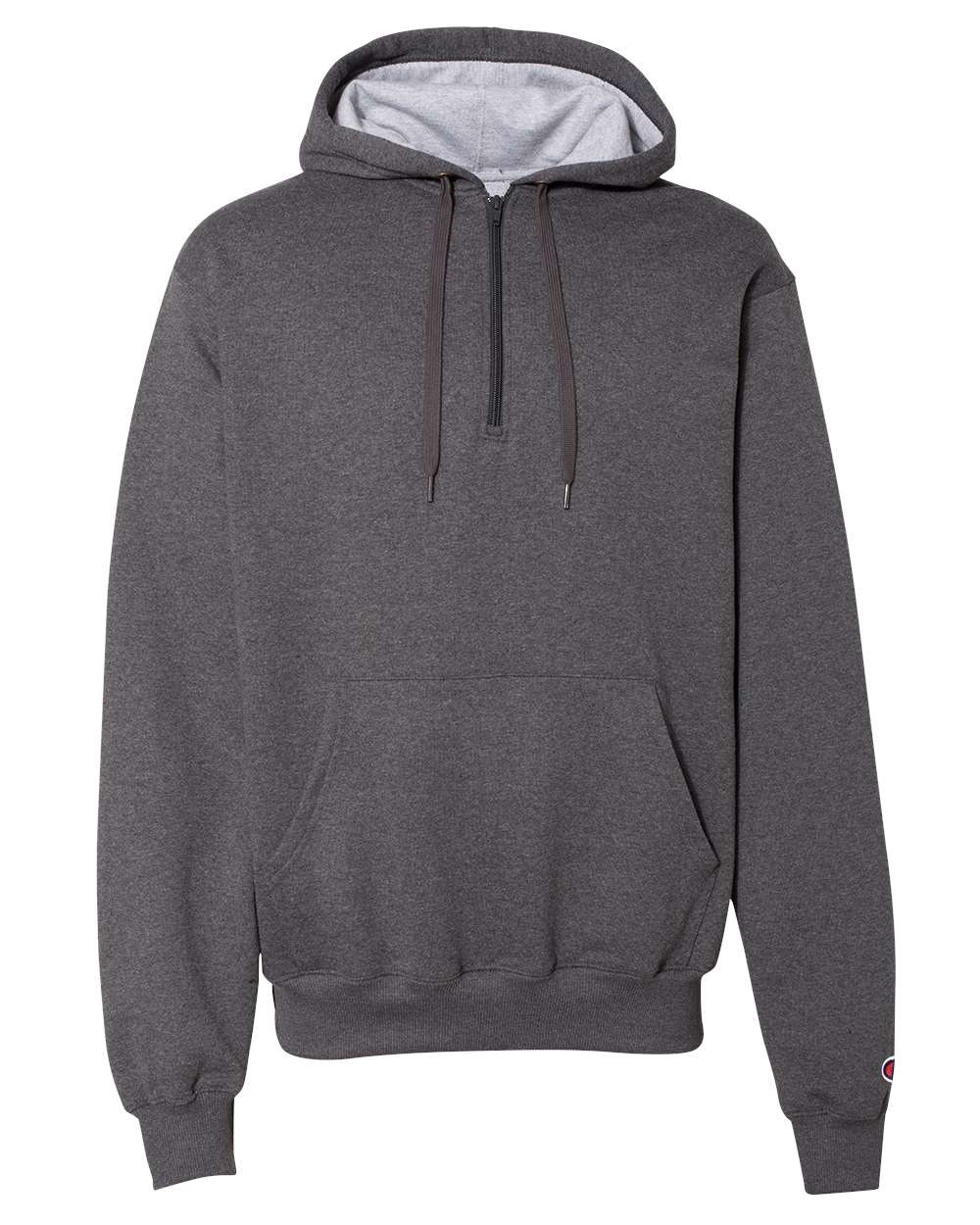Champion-Mens-Cotton-Max-Hooded-Quarter-Zip-Sweatshirt-Pullover-S185-up-to-3XL miniature 9